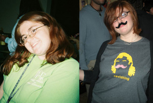 The image on the left is me at my heaviest in college; on the right is me from a few years ago. I'm slowing creeping back up to that college weight.